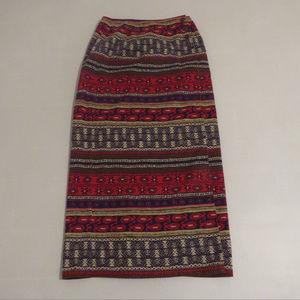 Sigrid Olsen Sport Long Tribal Wrap Skirt Sz 4 EUC